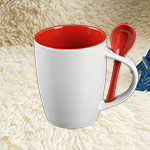 Red Color Glazed Ceramic Mugs with Spoon
