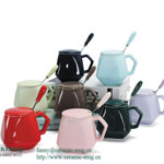 Bone China Mugs With Ceramic Cover Spoon