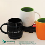 Orange Matt Color Glazed Soup Ceramic Mugs