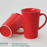 Red V Shape Glazed Ceramic Mugs