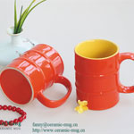 Slub Color Glazed Ceramic Mugs