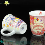 V Shape Color Glazed Ceramic Mugs with Printing