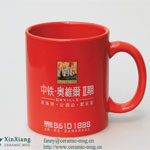 Decal Printing Red Glazed Ceramic Mugs