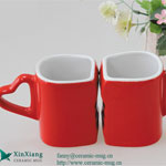 Red Special-shaped Ceramic Coffee Mugs