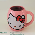 Pink Spherical Color Glazed Ceramic Mugs