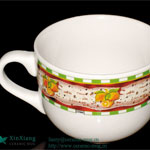 Color Glazed Soup Ceramic Mugs with Printing
