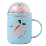 Wholesale personalised cute ceramic mugs with scenery lid for kids cartoon mugs