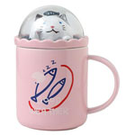 Blank cute ceramic sublimation mugs with scenery lid for kids cartoon mugs