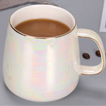 Custom plain white pearl glazed fat ceramic mugs with gold rim china factory