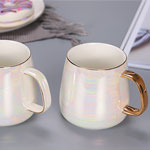 Wholesale white paunch pearl glazed ceramic coffee mugs with gold handle china suppliers