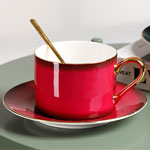Custom gradient color fine bone ceramic coffee mugs and saucers with gold rim factory