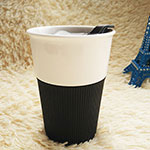 Single-Wall Ceramic Cup with Silicone lid & Band