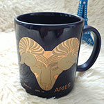 Navy Blue Color Stoneware Mug with Gold Logo