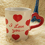 Red Heard-Shape Handle Valentine Ceramic Cups