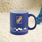 Blue Matt Ceramic Mugs with Printing